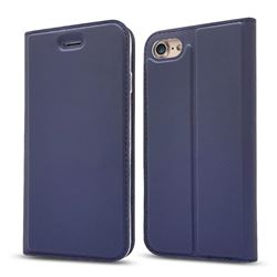 Ultra Slim Card Magnetic Automatic Suction Leather Wallet Case for iPhone 8 / 7 (4.7 inch) - Royal Blue