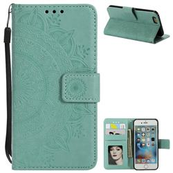 Intricate Embossing Datura Leather Wallet Case for iPhone 8 / 7 (4.7 inch) - Mint Green