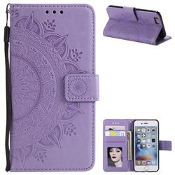 Intricate Embossing Datura Leather Wallet Case for iPhone 8 / 7 (4.7 inch) - Purple