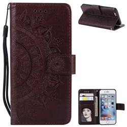 Intricate Embossing Datura Leather Wallet Case for iPhone 8 / 7 (4.7 inch) - Brown