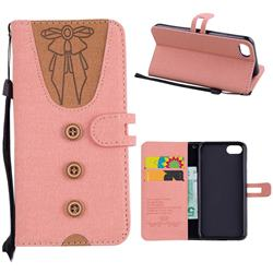 Ladies Bow Clothes Pattern Leather Wallet Phone Case for iPhone 8 / 7 (4.7 inch) - Pink