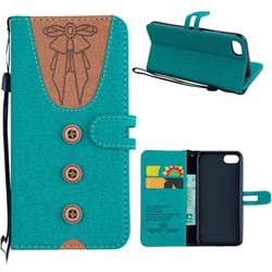 Ladies Bow Clothes Pattern Leather Wallet Phone Case for iPhone 8 / 7 (4.7 inch) - Green