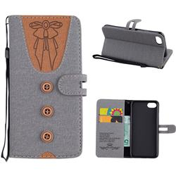 Ladies Bow Clothes Pattern Leather Wallet Phone Case for iPhone 8 / 7 (4.7 inch) - Gray