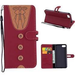 Ladies Bow Clothes Pattern Leather Wallet Phone Case for iPhone 8 / 7 (4.7 inch) - Red