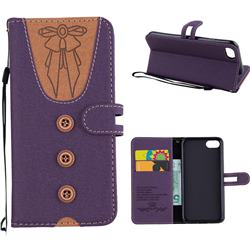 Ladies Bow Clothes Pattern Leather Wallet Phone Case for iPhone 8 / 7 (4.7 inch) - Purple