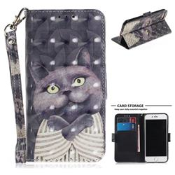 Cat Embrace 3D Painted Leather Wallet Phone Case for iPhone 8 / 7 (4.7 inch)