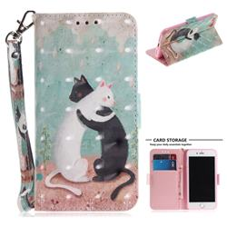 Black and White Cat 3D Painted Leather Wallet Phone Case for iPhone 8 / 7 (4.7 inch)