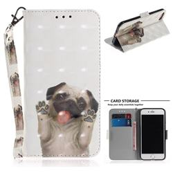 Pug Dog 3D Painted Leather Wallet Phone Case for iPhone 8 / 7 (4.7 inch)