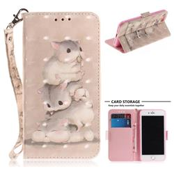 Three Squirrels 3D Painted Leather Wallet Phone Case for iPhone 8 / 7 (4.7 inch)