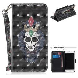 Skull Cat 3D Painted Leather Wallet Phone Case for iPhone 8 / 7 (4.7 inch)