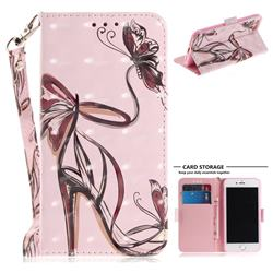 Butterfly High Heels 3D Painted Leather Wallet Phone Case for iPhone 8 / 7 (4.7 inch)