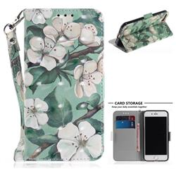 Watercolor Flower 3D Painted Leather Wallet Phone Case for iPhone 8 / 7 (4.7 inch)
