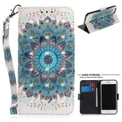 Peacock Mandala 3D Painted Leather Wallet Phone Case for iPhone 8 / 7 (4.7 inch)