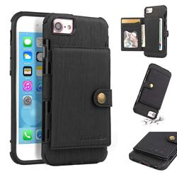 Brush Multi-function Leather Phone Case for iPhone 8 / 7 (4.7 inch) - Black