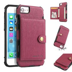 Brush Multi-function Leather Phone Case for iPhone 8 / 7 (4.7 inch) - Wine Red