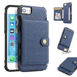 Brush Multi-function Leather Phone Case for iPhone 8 / 7 (4.7 inch) - Blue