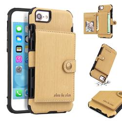 Brush Multi-function Leather Phone Case for iPhone 8 / 7 (4.7 inch) - Golden