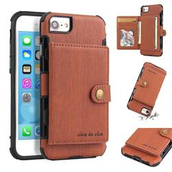 Brush Multi-function Leather Phone Case for iPhone 8 / 7 (4.7 inch) - Brown