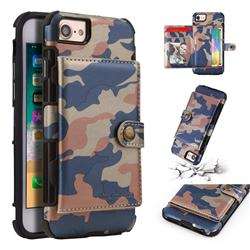 Camouflage Multi-function Leather Phone Case for iPhone 8 / 7 (4.7 inch) - Blue