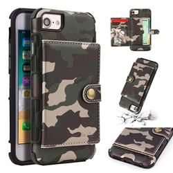 Camouflage Multi-function Leather Phone Case for iPhone 8 / 7 (4.7 inch) - Army Green