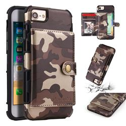Camouflage Multi-function Leather Phone Case for iPhone 8 / 7 (4.7 inch) - Coffee