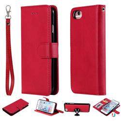 Retro Greek Detachable Magnetic PU Leather Wallet Phone Case for iPhone 8 / 7 (4.7 inch) - Red