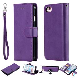 Retro Greek Detachable Magnetic PU Leather Wallet Phone Case for iPhone 8 / 7 (4.7 inch) - Purple