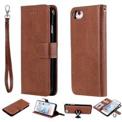 Retro Greek Detachable Magnetic PU Leather Wallet Phone Case for iPhone 8 / 7 (4.7 inch) - Brown