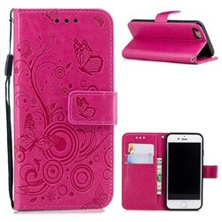 Intricate Embossing Butterfly Circle Leather Wallet Case for iPhone 8 / 7 (4.7 inch) - Red