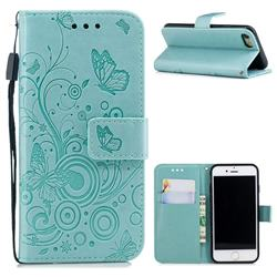 Intricate Embossing Butterfly Circle Leather Wallet Case for iPhone 8 / 7 (4.7 inch) - Cyan