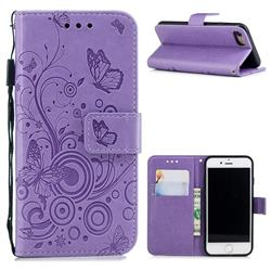 Intricate Embossing Butterfly Circle Leather Wallet Case for iPhone 8 / 7 (4.7 inch) - Purple