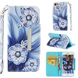 Button Flower Big Metal Buckle PU Leather Wallet Phone Case for iPhone 8 / 7 (4.7 inch)