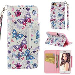 Colored Butterfly Big Metal Buckle PU Leather Wallet Phone Case for iPhone 8 / 7 (4.7 inch)