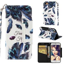 Peacock Feather Big Metal Buckle PU Leather Wallet Phone Case for iPhone 8 / 7 (4.7 inch)
