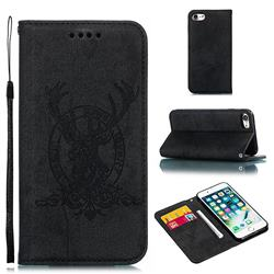 Retro Intricate Embossing Elk Seal Leather Wallet Case for iPhone 8 / 7 (4.7 inch) - Black