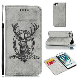 Retro Intricate Embossing Elk Seal Leather Wallet Case for iPhone 8 / 7 (4.7 inch) - Gray