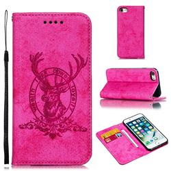 Retro Intricate Embossing Elk Seal Leather Wallet Case for iPhone 8 / 7 (4.7 inch) - Rose