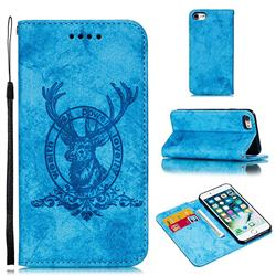 Retro Intricate Embossing Elk Seal Leather Wallet Case for iPhone 8 / 7 (4.7 inch) - Blue