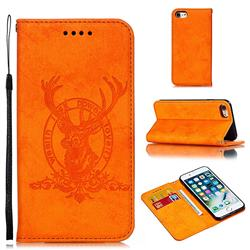 Retro Intricate Embossing Elk Seal Leather Wallet Case for iPhone 8 / 7 (4.7 inch) - Orange