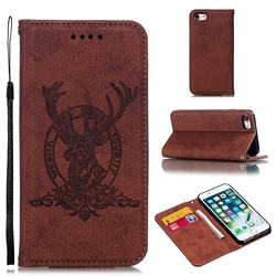 Retro Intricate Embossing Elk Seal Leather Wallet Case for iPhone 8 / 7 (4.7 inch) - Brown