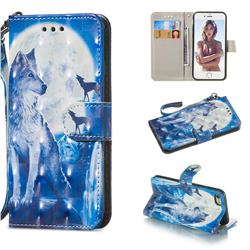 Ice Wolf 3D Painted Leather Wallet Phone Case for iPhone 8 / 7 (4.7 inch)