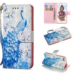 Blue Peacock 3D Painted Leather Wallet Phone Case for iPhone 8 / 7 (4.7 inch)