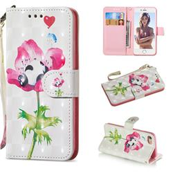 Flower Panda 3D Painted Leather Wallet Phone Case for iPhone 8 / 7 (4.7 inch)
