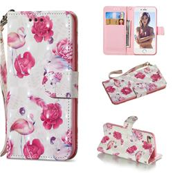 Flamingo 3D Painted Leather Wallet Phone Case for iPhone 8 / 7 (4.7 inch)