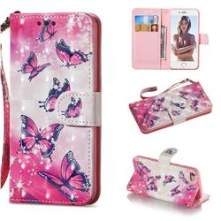 Pink Butterfly 3D Painted Leather Wallet Phone Case for iPhone 8 / 7 (4.7 inch)