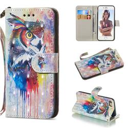Watercolor Owl 3D Painted Leather Wallet Phone Case for iPhone 8 / 7 (4.7 inch)