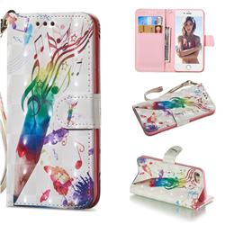 Music Pen 3D Painted Leather Wallet Phone Case for iPhone 8 / 7 (4.7 inch)