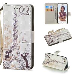 Tower Couple 3D Painted Leather Wallet Phone Case for iPhone 8 / 7 (4.7 inch)