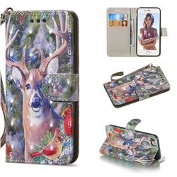 Elk Deer 3D Painted Leather Wallet Phone Case for iPhone 8 / 7 (4.7 inch)