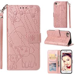 Embossing Fireworks Elephant Leather Wallet Case for iPhone 8 / 7 (4.7 inch) - Rose Gold